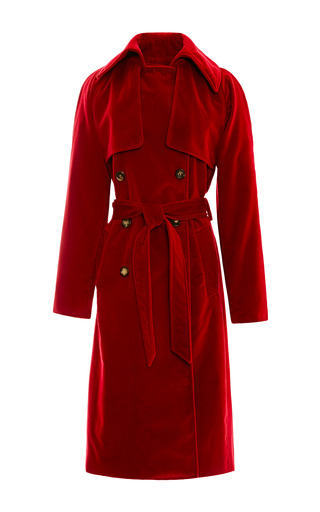 Medium rosie assoulin red red velvet trench coat