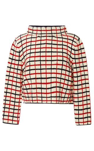 Medium rosie assoulin blue hand knit checkered top