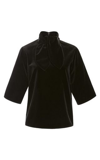 Medium rosie assoulin black cotton velvet ascot tee