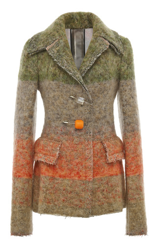 Medium calvin klein collection multi multi color artisan tweed wool pin closure jacket