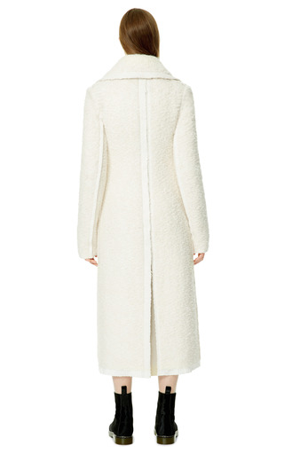 Cream And White Textured Mohair And Wool Knit Oversized Collar Coat by CALVIN KLEIN COLLECTION for Preorder on Moda Operandi