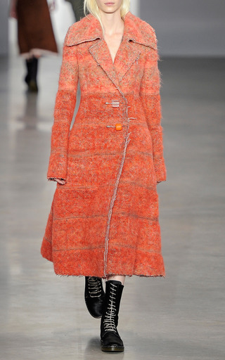 Mandarin Gradient Wool Oversized Collar Pin Closure Coat by CALVIN KLEIN COLLECTION for Preorder on Moda Operandi