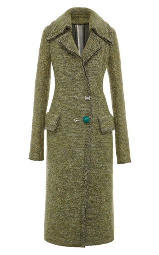 Medium calvin klein collection green light olive melange technical compact mohair double breasted coat