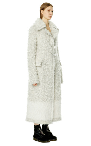Ivory Mohair And Cashmere Knit Pin Closure Coat by CALVIN KLEIN COLLECTION for Preorder on Moda Operandi