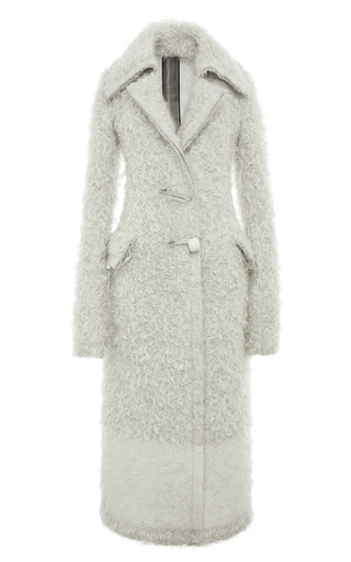 Medium calvin klein collection white ivory mohair and cashmere knit pin closure coat