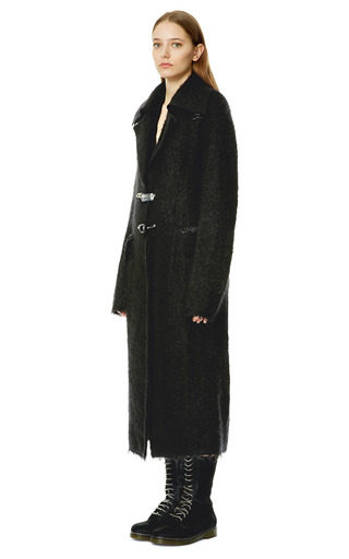 Black Mohair Pin Closure Coat by CALVIN KLEIN COLLECTION for Preorder on Moda Operandi