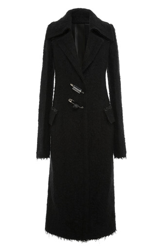 Medium calvin klein collection black black mohair pin closure coat