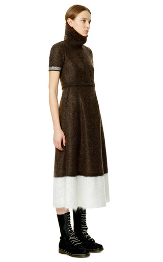 Espresso White And Technical Compact Mohair Turtleneck Short Sleeve Dress by CALVIN KLEIN COLLECTION for Preorder on Moda Operandi