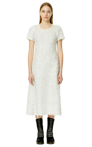 White Wool Short Sleeve Dress by CALVIN KLEIN COLLECTION for Preorder on Moda Operandi
