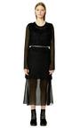 Black And White Embroidered Gauze Sleeveless Split Waist Dress by CALVIN KLEIN COLLECTION for Preorder on Moda Operandi