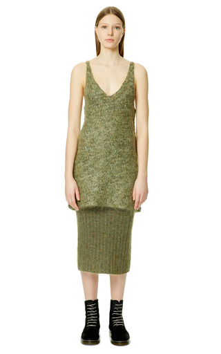 Light Olive Melange Technical Compact Mohair Tank by CALVIN KLEIN COLLECTION for Preorder on Moda Operandi