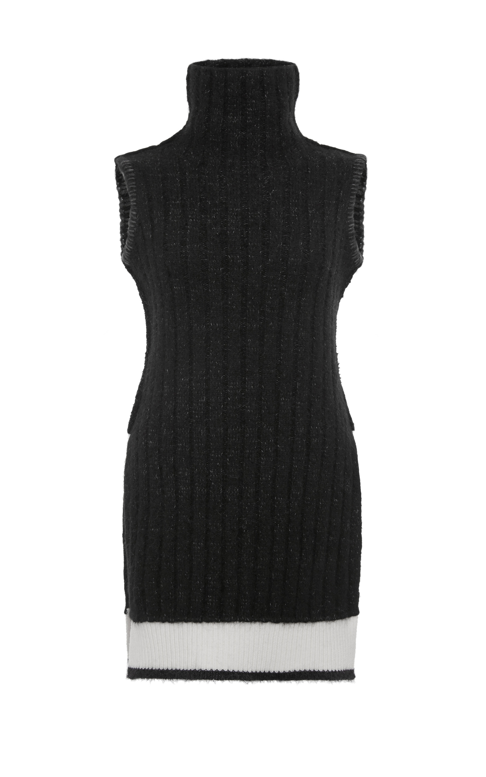 d30c637b731b24 Calvin Klein CollectionBlack And White Ribbed Cashmere Turtleneck  Sleeveless Top. CLOSE. Loading