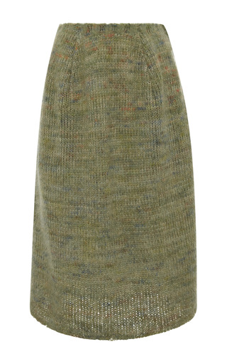 Medium calvin klein collection green green and anthracite mohair open weave knit bubble skirt