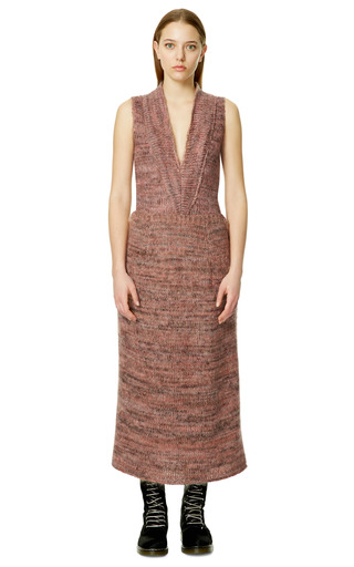 Orange And Brown Melange Soft Mohair And Wool Knit Skirt by CALVIN KLEIN COLLECTION for Preorder on Moda Operandi