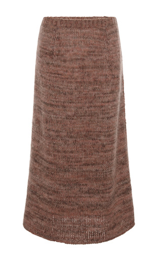 Medium calvin klein collection brown orange and brown melange soft mohair and wool knit skirt