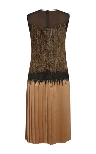 Bronze Embroidered Double Satin Dress by SALVATORE FERRAGAMO for Preorder on Moda Operandi