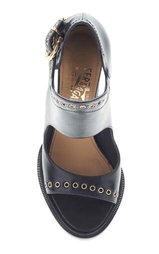 Narny Black Leather Heel by SALVATORE FERRAGAMO for Preorder on Moda Operandi