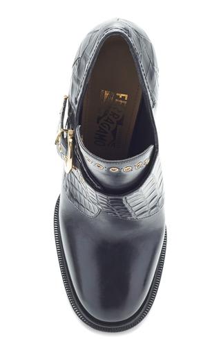 Nevers 1 Black Leather And Croc Bootie by SALVATORE FERRAGAMO for Preorder on Moda Operandi