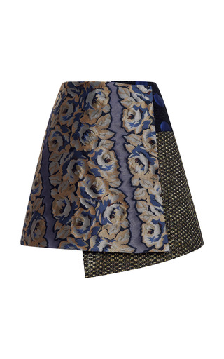 Medium suno yellow asymmetrical wrap mini skirt