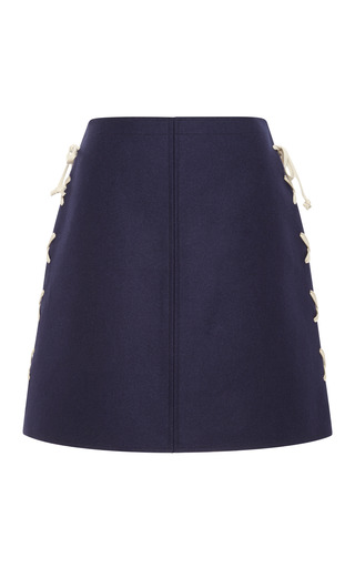 Medium suno navy a line side laced mini skirt