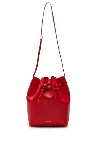 Medium mansur gavriel blue large bucket bag in black with royal interior