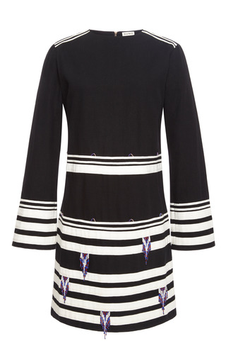 Medium suno stripe long sleeve dress