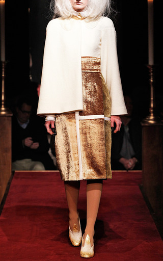 Cape Jacket With Cashmere Gold Thread by THOM BROWNE for Preorder on Moda Operandi