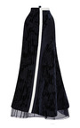 Long Side Flared Skirt With Undulating Velvet Bias Strips by THOM BROWNE for Preorder on Moda Operandi