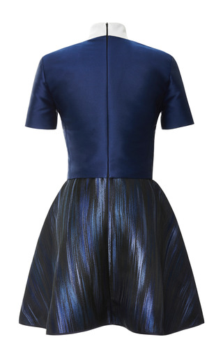 Blue Brushstroke High Neck Dress by OSTWALD HELGASON for Preorder on Moda Operandi