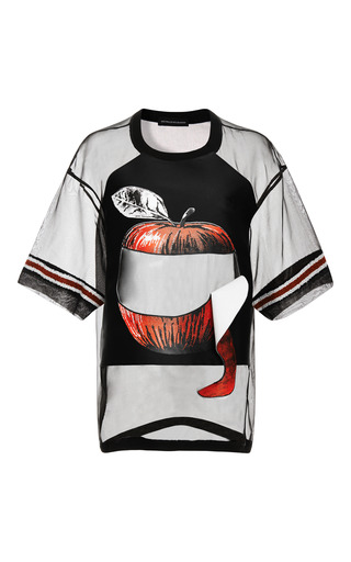 Medium ostwald helgason black apple printed fuit peel tee in black