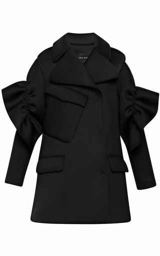 Medium simone rocha black double jersey frill coat