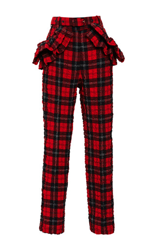 Medium simone rocha red tartan seersucker ruffle trousers