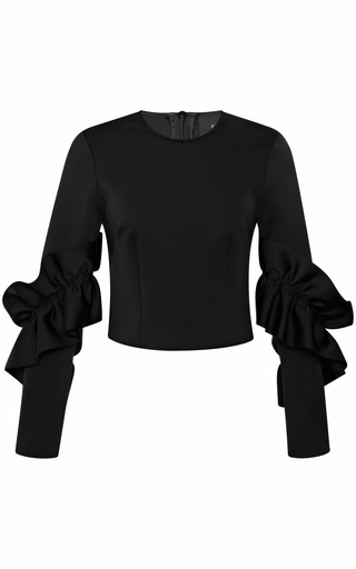 Medium simone rocha black jersey frill long sleeve top