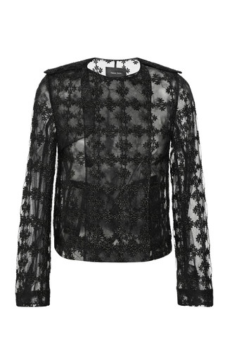 Medium simone rocha black floral check collarless jacket