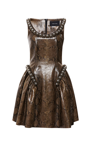 Medium simone rocha khaki snakeskin printed beaded dress