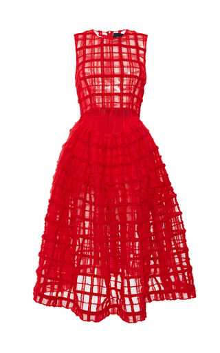 Medium simone rocha red red brushed wool check sleeveless dress