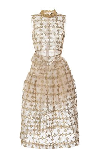 Medium simone rocha gold gold floral check sleeveless dress