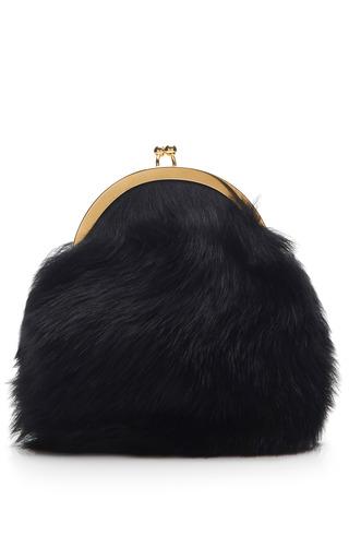 Medium simone rocha black black shearling sheepskin clutch