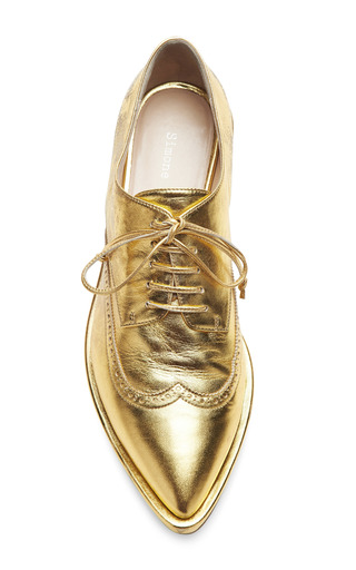 Gold Leather Brogues by SIMONE ROCHA for Preorder on Moda Operandi