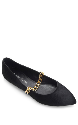 Black Pony Hair Ballerina Flats by SIMONE ROCHA for Preorder on Moda Operandi