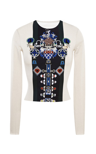 Medium mary katrantzou white riva embroidered crewneck top
