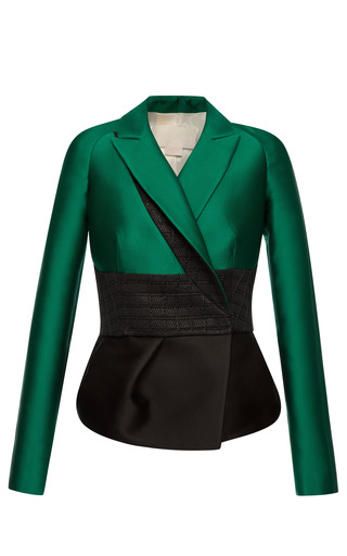Medium antonio berardi black emerald silk scuba peplum jacket