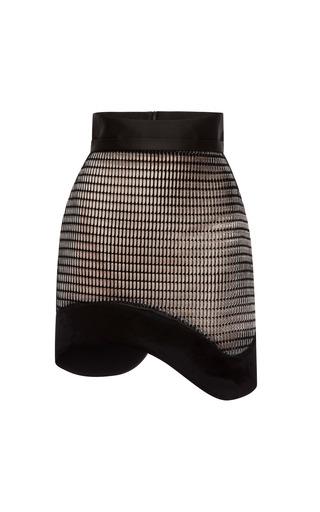 Medium antonio berardi black flocked airtex amorphic mini skirt