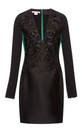 Medium antonio berardi green embroidered stretch satin long sleeve dress