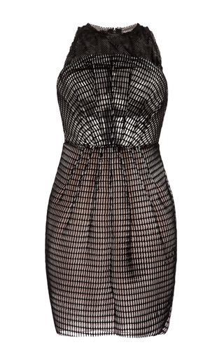 Medium antonio berardi black flocked airtex sheath dress