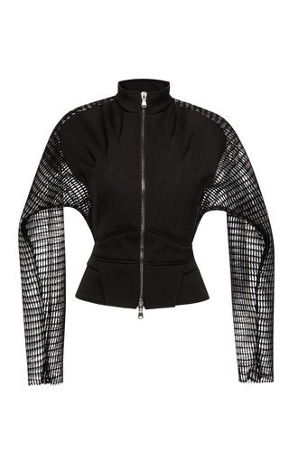 Medium antonio berardi black satin neoprene jacket with airtex sleeves