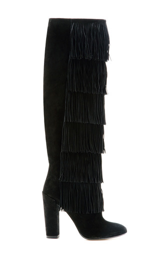 Medium paul andrew black tara fringe tall boot