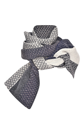 Medium prabal gurung dark grey midnight ivory jacquard intarsia scarf 2