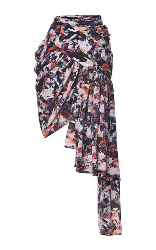 Medium prabal gurung multi paint stained tapestry printed draped mini skirt