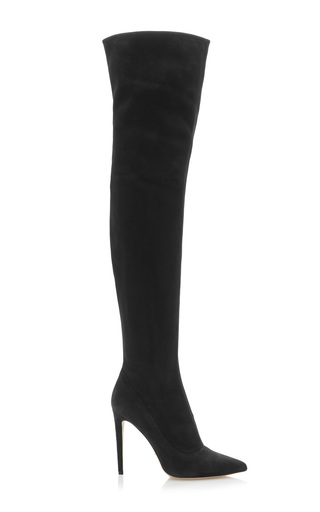 Medium sergio rossi black matrix stretch over the knee boot